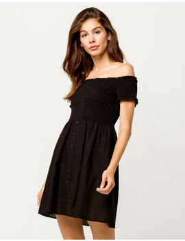Sky And Sparrow Smocked Button Front Black Off The Shoulder Dress by Sky And Sparrow