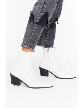 A Little Lower Faux Leather Sock Boot by Nasty Gal