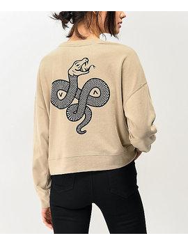 Rvca Snake Tan Crew Neck Sweatshirt by Rvca