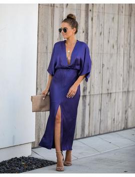 Greetings Satin Kimono Maxi Dress by Vici
