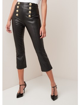 High Rise Slim Fit Cropped Pantalon Van Lamsleer  by Balmain