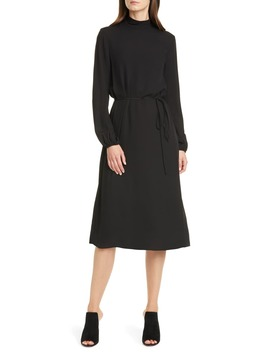 Mock Neck Silk Midi Dress by Theory