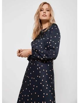 Navy Spot Satin Midi Dress by Mint Velvet