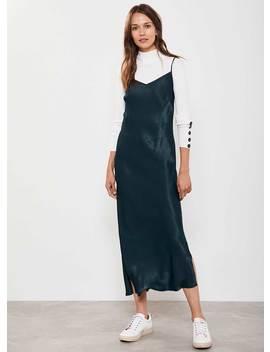 Green Satin Midi Slip Dress by Mint Velvet
