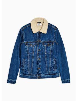 Mid Wash Borg Denim Jacket by Topman