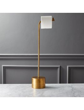 Rough Cast Brass Standing Toilet Paper Holder by Crate&Barrel