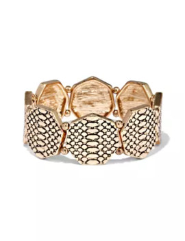 Snake Print Goldtone Stretch Bracelet by New York & Company