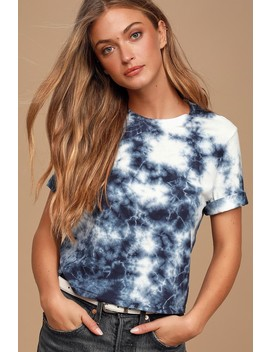 Cute As A Button Blue Tie Dye Cropped Tee by Etica