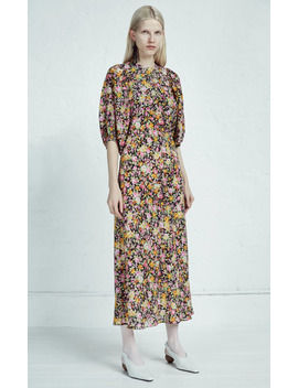 Floral Print Silk Chiffon Midi Dress by Les Rêveries