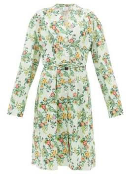 Floral Print Tie Waist Cotton Dress by Vetements