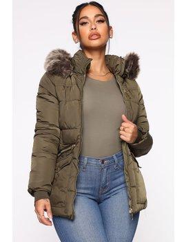Madison Avenue Puffer Jacket   Olive by Fashion Nova