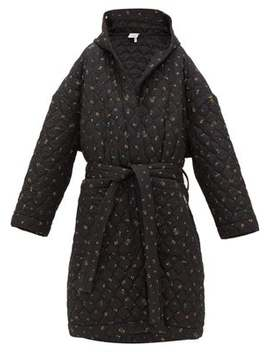 Floral Print Quilted Hooded Robe Coat by Vetements