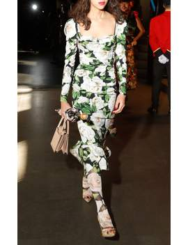 Ruched Floral Print Stretch Crepe Midi Dress by Dolce & Gabbana