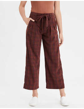 Ae Highest Waist Plaid Wide Leg Pant by American Eagle Outfitters