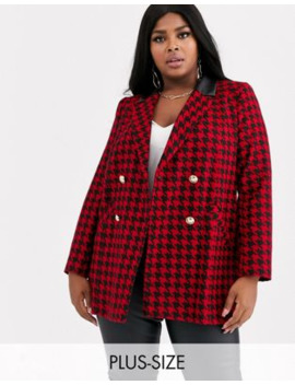 River Island Plus Blazer With Contrast Collar In Red Houndstooth Check by River Island