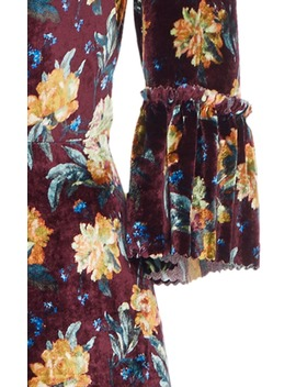 Ruffled Floral Print Velvet Maxi Dress by The Vampire's Wife