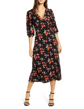 Print Blouson Sleeve Midi Dress by All In Favor