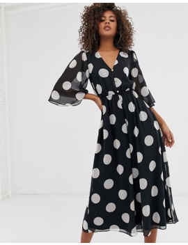 Asos Design Tall Button Front Waisted Open Back Jumpsuit In Polka Dot by Asos Design