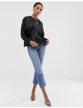Asos Design Batwing Top In Satin With Wrap Back by Asos Design