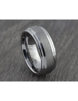 Mens Womens 7mm Tungsten Ring With Brushed Inlay   Silver Wedding Band   Womens & Mens Engagement, Promise, Friendship Ring   Sizes M To Z by Etsy