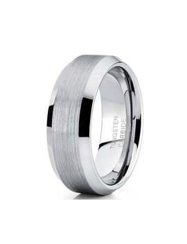 Silver Tungsten Wedding Band,Silver Tungsten Ring,Men & Women,Tungsten Carbide Ring,Anniversary Ring,Brush Wedding Band,Beveled Edges by Etsy