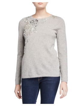 Cashmere Embellished Long Sleeve Crewneck Sweater by Neiman Marcus Cashmere Collection