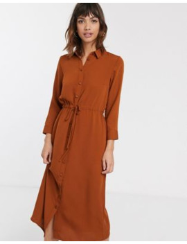 Warehouse Midi Utility Shirt Dress In Rust by Warehouse