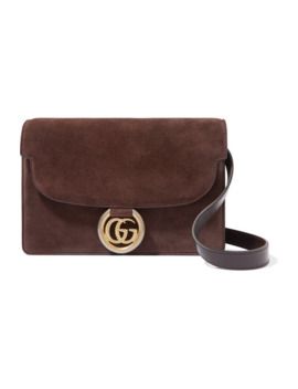 Gg Ring Small Leather Trimmed Suede Shoulder Bag by Gucci