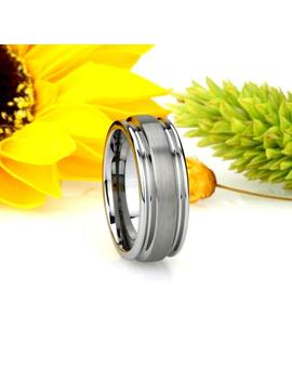 Men Women Tungsten Wedding Band 8 Mm Domed Groove Tungsten Ring, Custom Engraved Personalized Ring (Jdtr042) by Etsy