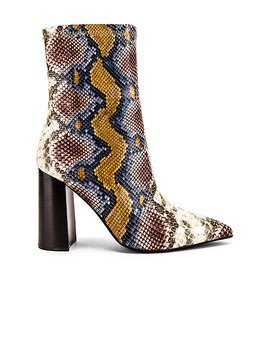 Siren Bootie In Grey Wine Snake by Jeffrey Campbell