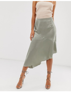 Missguided Tall Exclusive Satin Midi Skirt With Asymmetric Hem In Sage by Missguided's