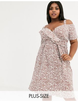 Boohoo Plus Midi Dress With Cold Shoulder And Ruffle Detail In Animal Print by Boohoo