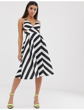 Asos Design Chevron Strappy Back Minimal Prom Midi Dress by Asos Design