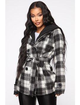 Short Notice Jacket   Black/White by Fashion Nova