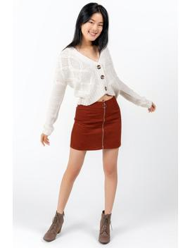 Rayen Zip Front Mini Skirt by Francesca's