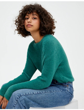 Basic Cropped Faux Fur Sweater by Pull & Bear