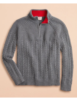 Half Zip Merino Wool Cable Knit Sweater by Brooks Brothers