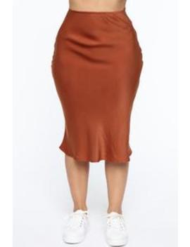 Runway All Day Satin Midi Skirt   Rust by Fashion Nova