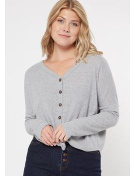 Olive Button Down Waffle Knit Top by Rue21