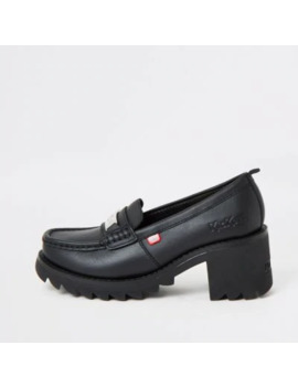 Kickers Black Klio Chunky Heel Loafers by River Island