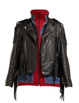 Layered Effect Fringed Leather Biker Jacket by Balenciaga