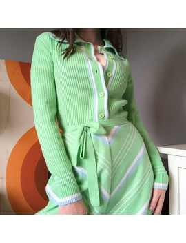 Vintage Knit Collared Sweater Dress A Rare Find From by Depop