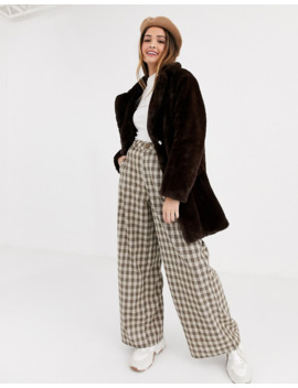 New Look Faux Fur Coat In Chocolate by New Look