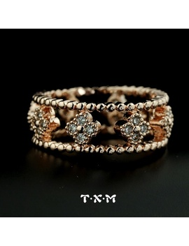 Bands Romantic Women Cubic Zirconia Rings Jewelry Anel Micro Inlay Zircon Luxury Hollow Out A Clover Ring Female (Txm J312) by Wish