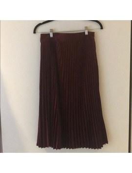 Sezane Pleated Mid Calf Skirt, Bordeaux   Nwt by Sezane
