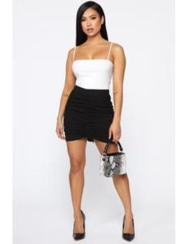 Forgive Me Ruched Mini Skirt   Black by Fashion Nova