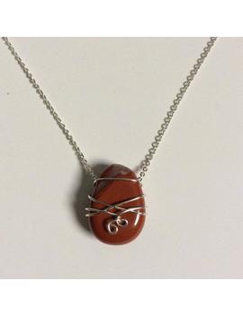 Red Jasper Wire Pendant Necklace by Etsy