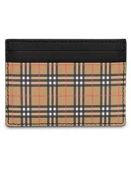 Vintage Check And Leather Card Case by Burberry