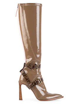 Harness Buckle Patent Neoprene Tall Boots by Fendi
