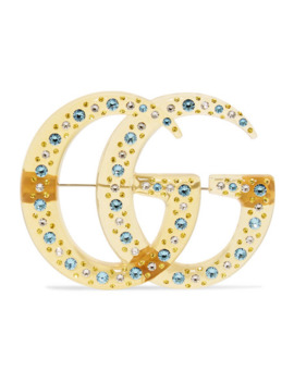 Gold Tone, Resin And Crystal Brooch by Gucci
